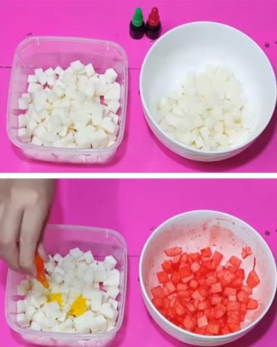 Cách làm sữa chua mít - trộn lê với siro