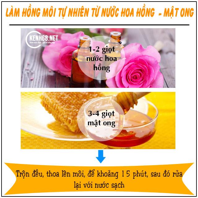 cách làm môi hồng tự nhiên không cần son từ nước hoa hồng và mật ong