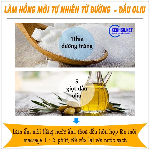cách làm môi hồng tự nhiên không cần son từ đường và dầu oliu