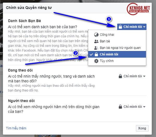 Cách ẩn danh sách bạn bè trên facebook bằng máy tính 02