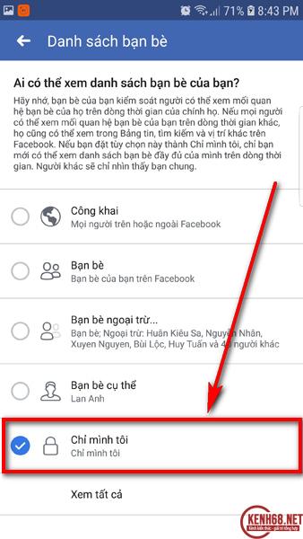 cách ẩn danh sách bạn bè trên facebook bằng điện thoại 05