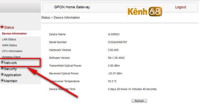 cách đổi mật khẩu wifi fpt - giao diện modem G-93RG1