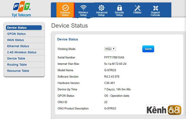 Cách đổi mật khẩu wifi FPT trên modem wifiG-97RG3 mới nhất - giao diện
