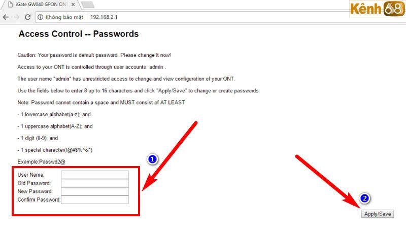 cách đổi mật khẩu wifi vnpt - access control passwords