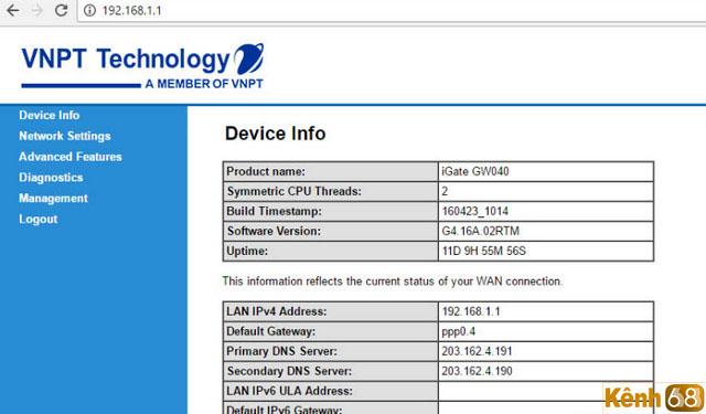 cách đổi mật khẩu wifi vnpt - giao diện trang quản trị modem