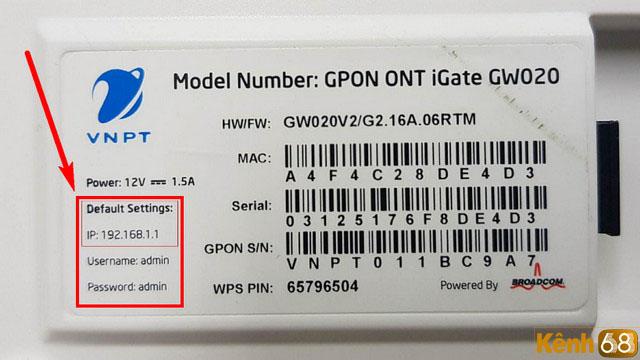 cách đổi pass wifi vnpt - thông tin đăng nhập được in ở mặt sau modem
