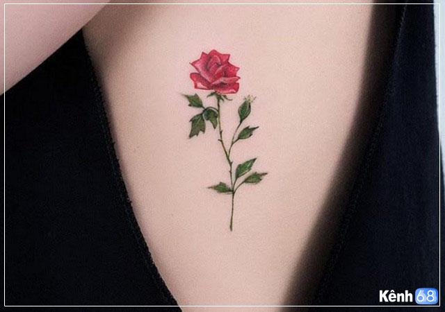 Hình xăm hoa hồng nhỏ 005