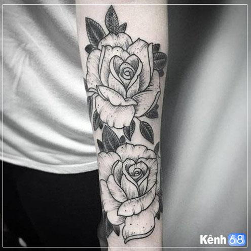 Hình xăm hoa hồng ở tay, bắp tay, bàn tay, cánh tay đẹp 001
