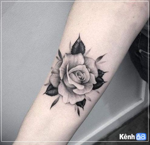 Hình xăm hoa hồng ở tay, bắp tay, bàn tay, cánh tay đẹp 003