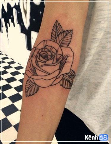 Hình xăm hoa hồng ở tay, bắp tay, bàn tay, cánh tay đẹp 007