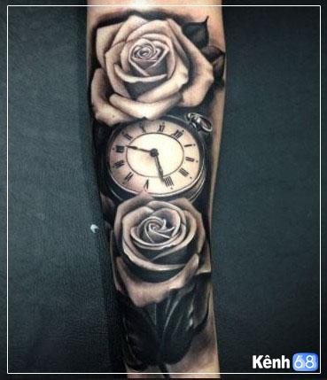 Hình xăm hoa hồng và đồng hồ 001