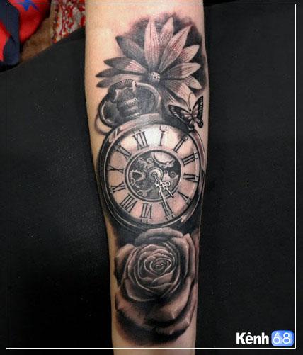 Hình xăm hoa hồng và đồng hồ 002