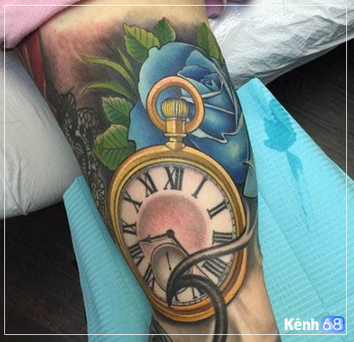 Hình xăm hoa hồng và đồng hồ 003