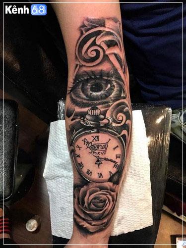 Hình xăm hoa hồng và đồng hồ 004