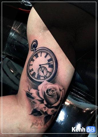 Hình xăm hoa hồng và đồng hồ 005