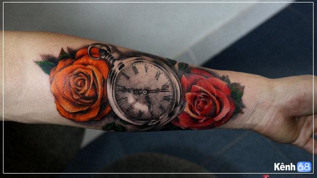 Hình xăm hoa hồng và đồng hồ 006