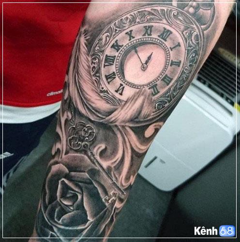 Hình xăm hoa hồng và đồng hồ 009