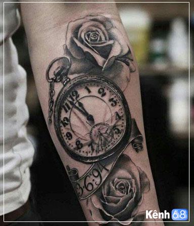 Hình xăm hoa hồng và đồng hồ 011