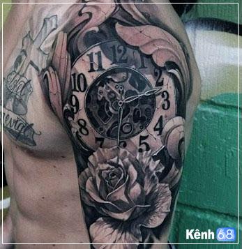 Hình xăm hoa hồng và đồng hồ 012