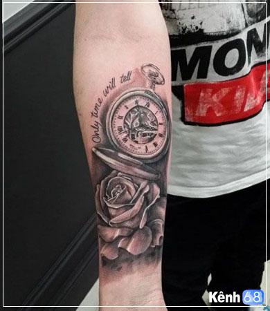Hình xăm hoa hồng và đồng hồ 013