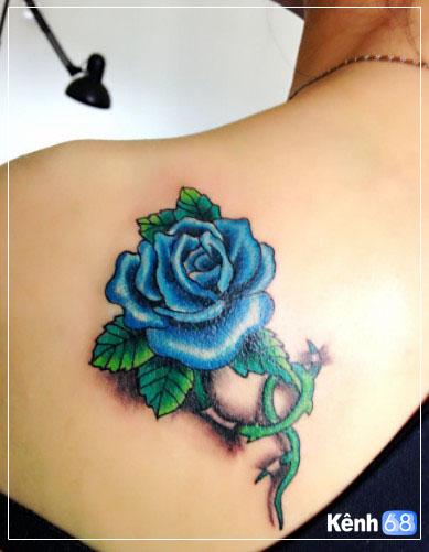 Hình xăm hoa hồng xanh đẹp 001