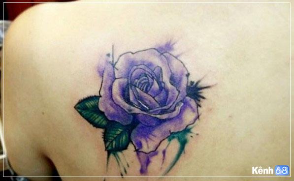 Hình xăm hoa hồng xanh đẹp 002
