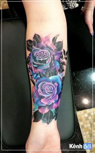 Hình xăm hoa hồng xanh đẹp 005