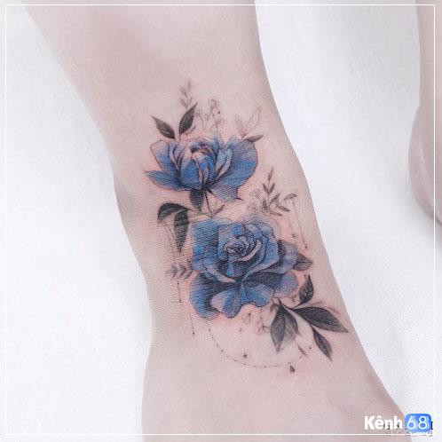 Hình xăm hoa hồng xanh đẹp 006