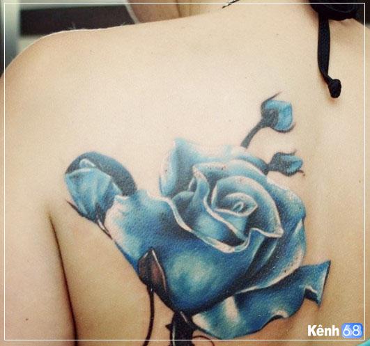 Hình xăm hoa hồng xanh đẹp 009