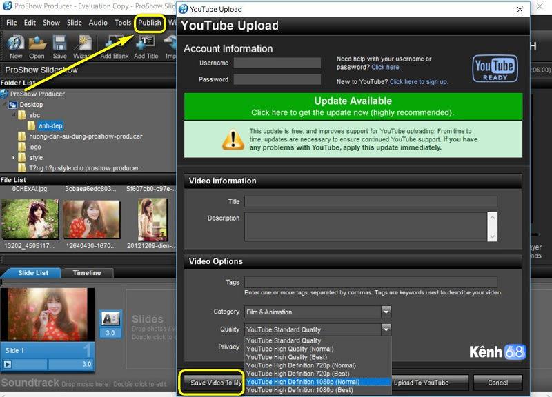hướng dẫn sử dụng proshow producer - Cách xuất video trong proshow producer