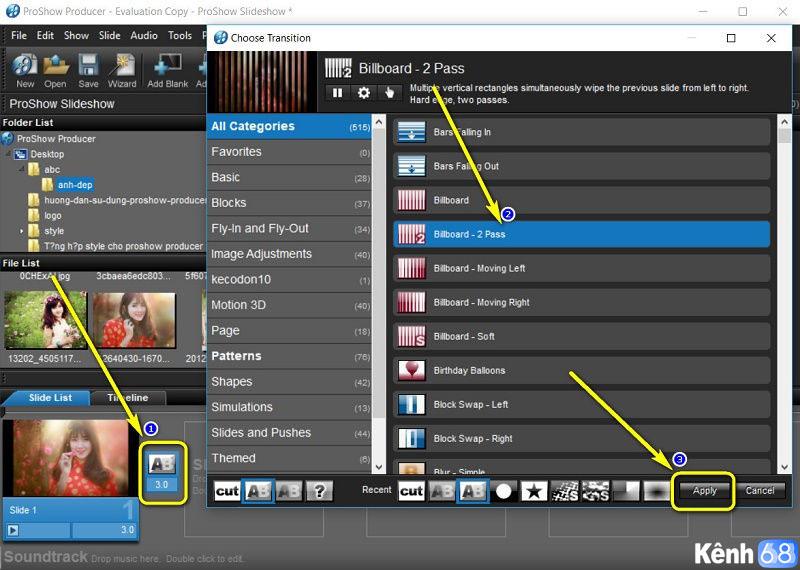 hướng dẫn sử dụng proshow producer - Cách thêm hiệu ứng chuyển cảnh trong proshow producer