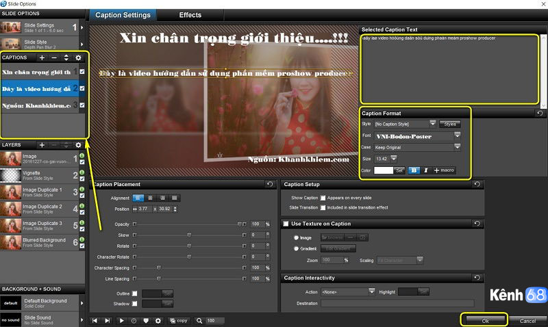 hướng dẫn sử dụng proshow producer - Cách chèn chữ trong proshow producer