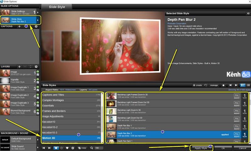hướng dẫn sử dụng proshow producer - Cách chèn style cho hình ảnh