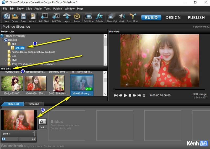 hướng dẫn sử dụng proshow producer - Cách đưa hình ảnh, video vào proshow producer