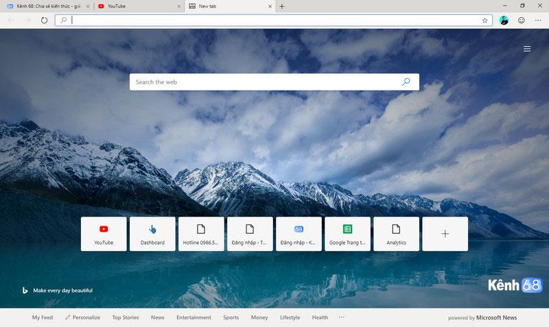 giao diện trình duyệt Microsoft Edge Chromium bản chính thức 01