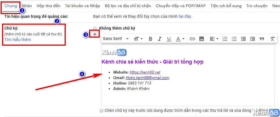 Cách tạo chữ ký Gmail bằng thiết lập trực tiếp trên Gmail 04