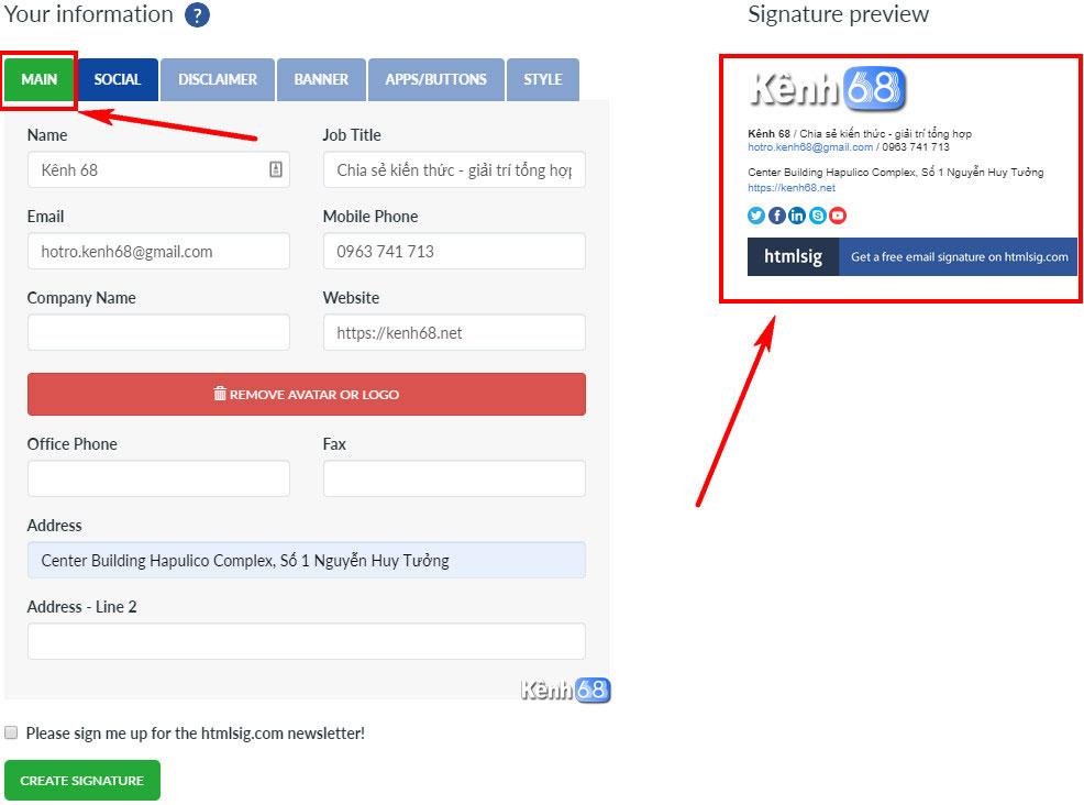 Cách tạo chữ ký Gmail chuyên nghiệp với htmlsig.com 002