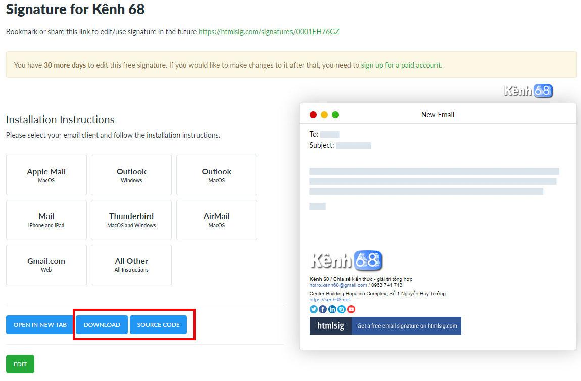 Cách tạo chữ ký Gmail chuyên nghiệp với htmlsig.com 008