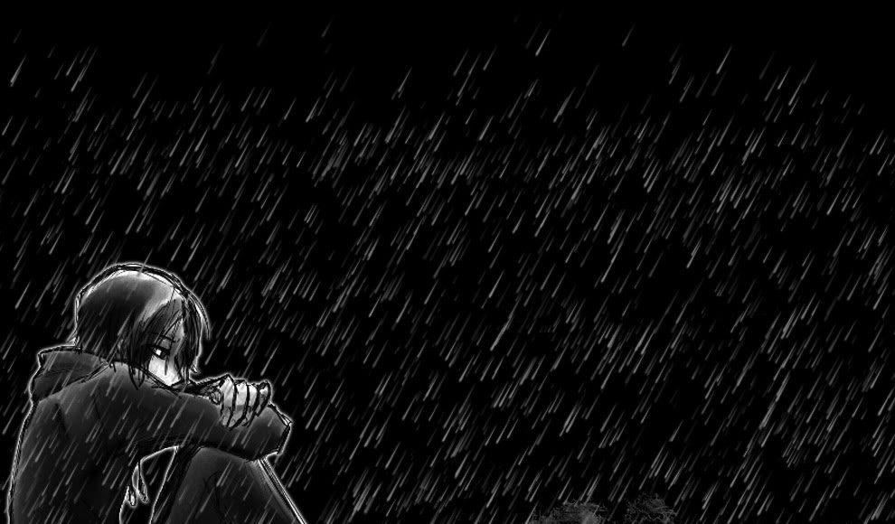 ảnh anime boy buồn thất tình dưới trời mưa