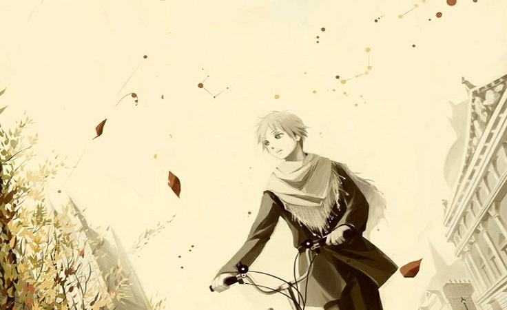 hình ảnh anime boy với chiếc xe đạp