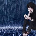 hình ảnh anime boy buồn dưới trời mưa