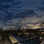 hình ảnh anime girl buồnvới khung cảnh thành phố