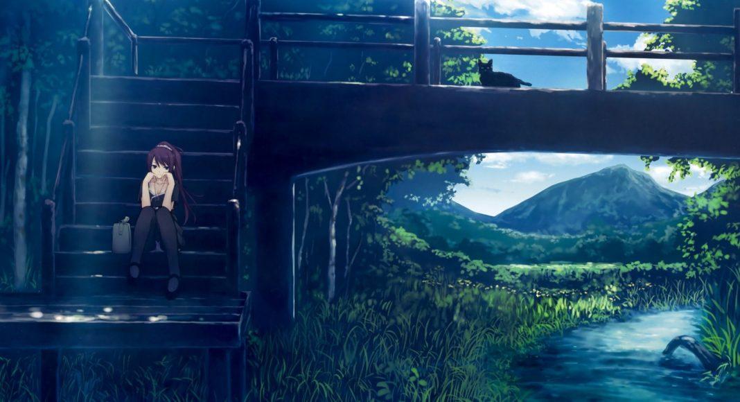 hình ảnh anime girl buồn ngồi khóc một mình