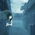 hình ảnh anime girl buồn với mưa
