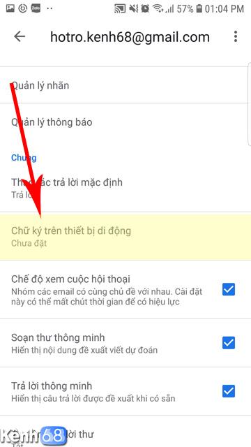 Cách tạo chữ ký Gmail trên điện thoại 03