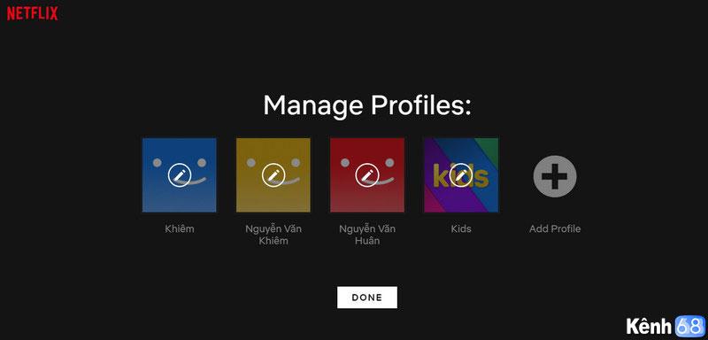profiles trên Netflix